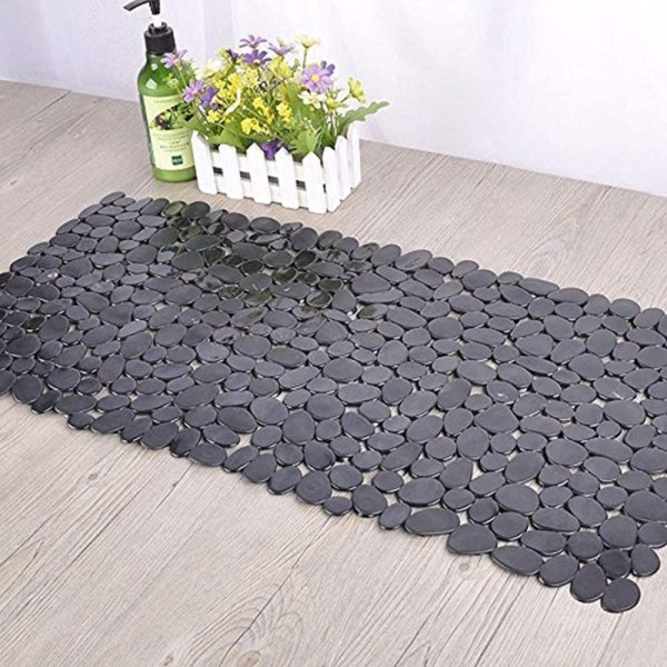 SONGZIMING Non-Slip Pebble Bathtub Mat Black 16 W x 35 L Inches (for Smooth-Non-Textured Tubs Only) Safe Shower Mat with Drain Holes, Suction Cups for Bathroom