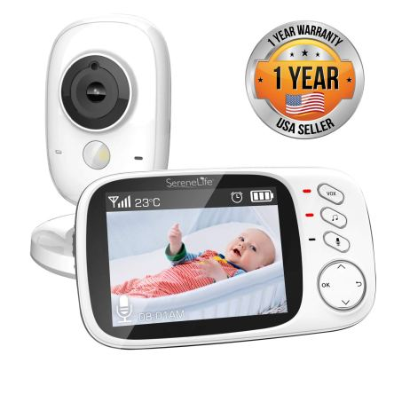 "SereneLife USA SLBCAM20 Video Baby Monitor – Long Range Upgraded 850' Wireless Range, Night Vision, Temperature Monitoring and Portable 2"" Color Screen"