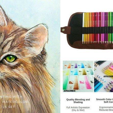 Watercolor Pencil Tutorial – Maine Cat Drawing | Amazrock Art & Craft