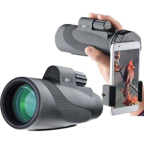 Gosky Titan 12X50 High Power Prism Monocular and Quick Smartphone Holder - Waterproof Fog