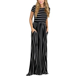 HOTAPEI Women's Summer Casual Loose Striped Long Dress Short Sleeve Pocket Maxi Dress