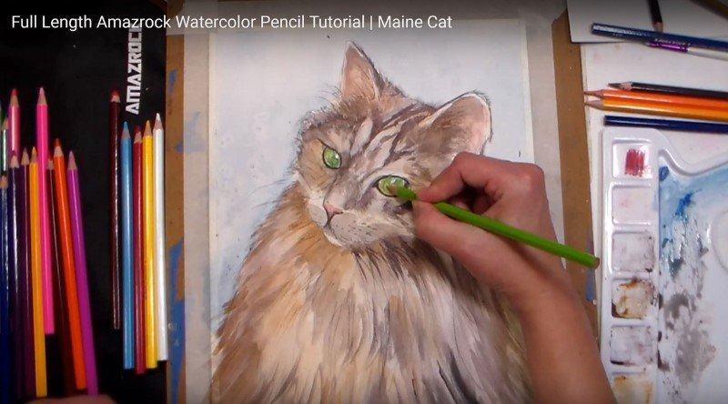 Amazrock Watercolor Tutorial | Colored Pencils - Use them Dry-on-Dry
