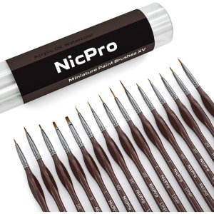 Nicpro Micro Detail Paint Brush Set,15 Tiny Professional Miniature Fine Detail Brushes