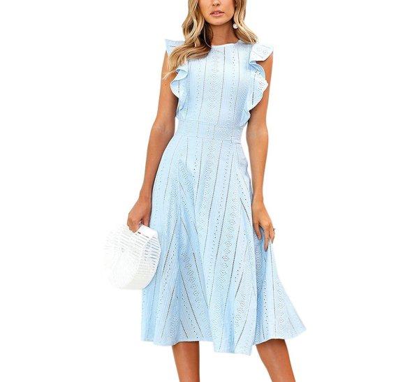 ECOWISH Womens Dresses Elegant Ruffles Cap Sleeves Summer A-Line Midi Dress (new)