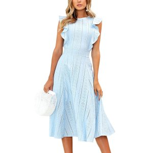 ECOWISH Womens Dresses Elegant Ruffles Cap Sleeves Summer A-Line Midi Dress (new)