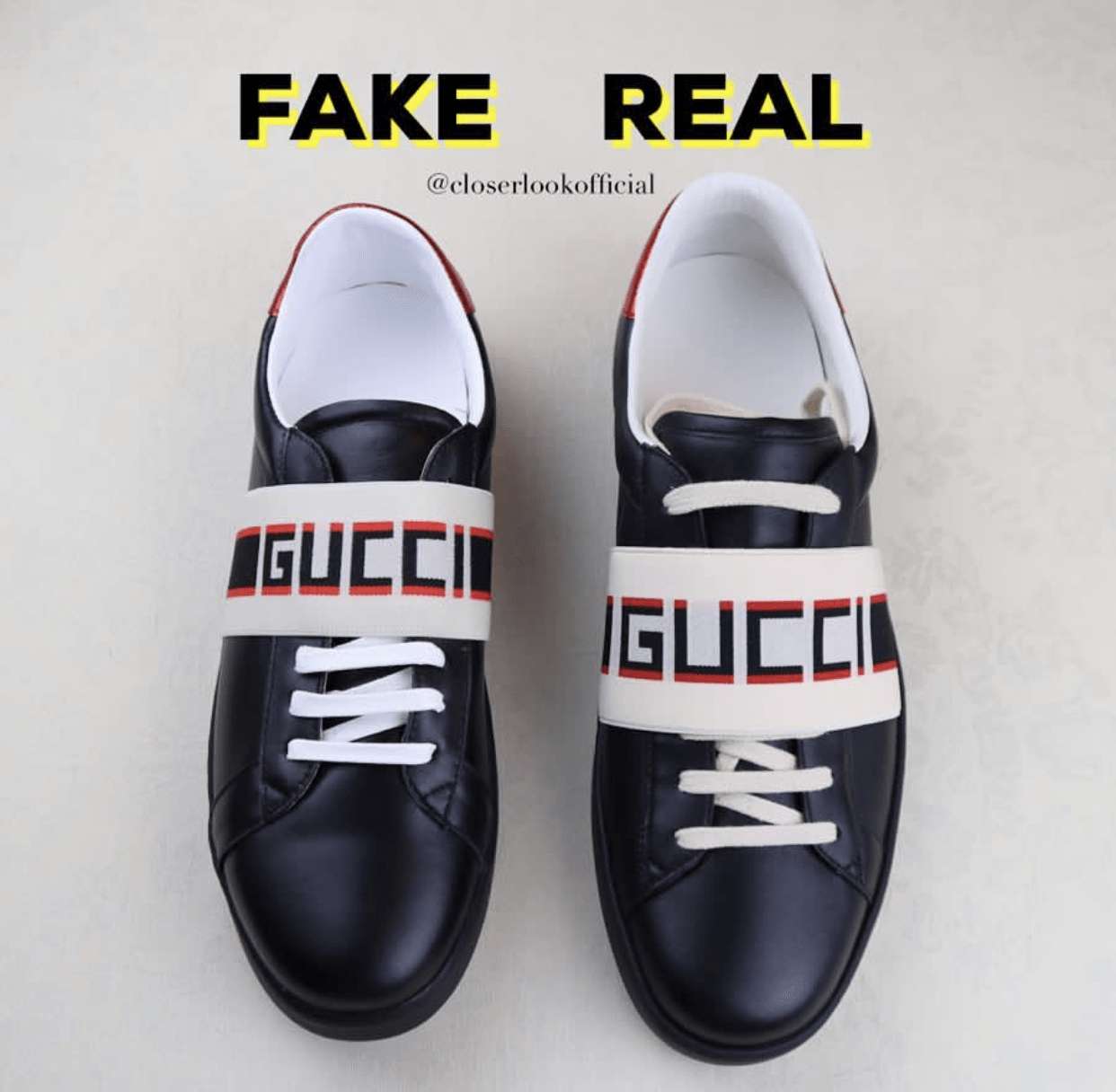 f509df6ea6a The shape from a side view of this sneakers reveals clearly their  differences. The fake pairs are shorter and as you can see the Gucci Logo  cannot be seen ...