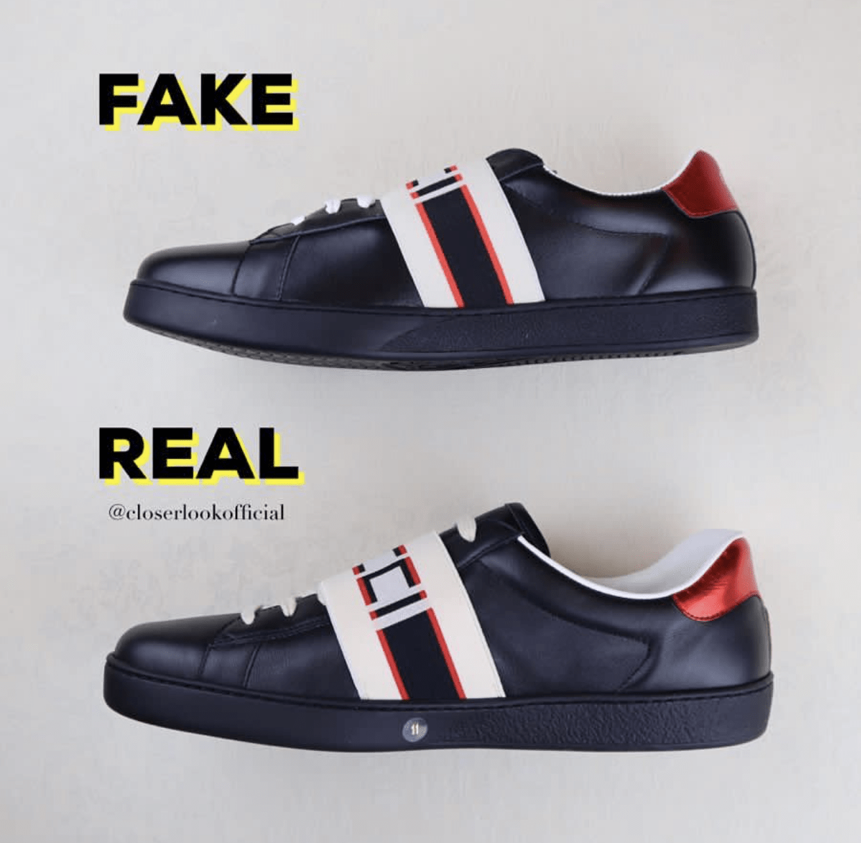 eeb551ce1 The shape from a side view of this sneakers reveals clearly their  differences. The fake pairs are shorter and as you can see the Gucci Logo  cannot be seen ...