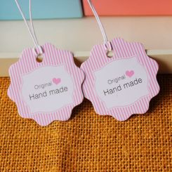 New-hand-made-Paper-tags-jewelry-Paper-Tags-with-rope-Pink-stripes-printing-300pcs-lot