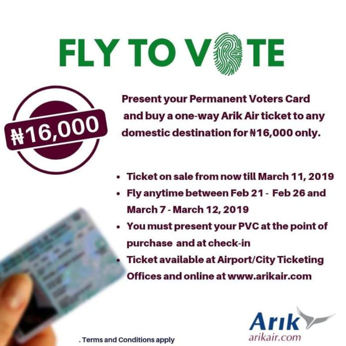 Arik Air introduces Fly-to-Vote Promo - Brand Spur
