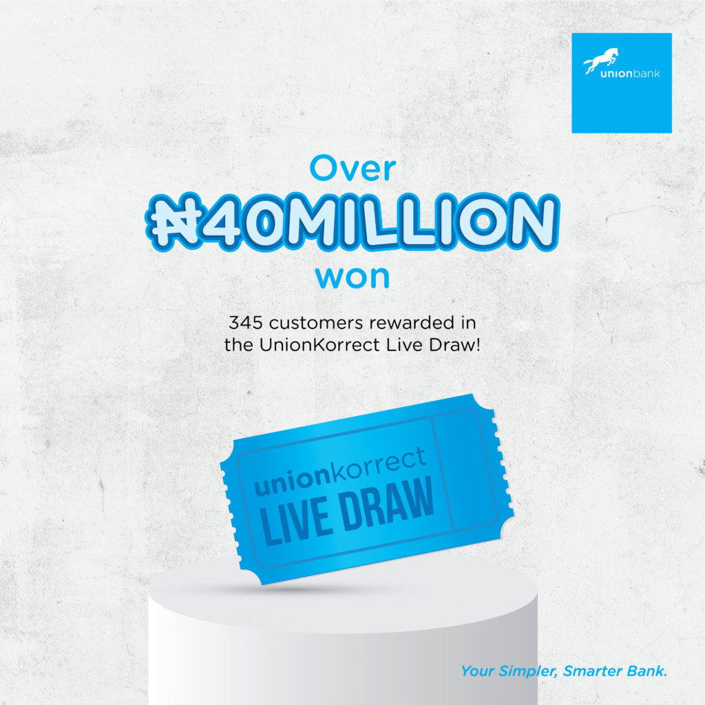 Union Bank Customers Win N40 Million in the UnionKorrect Draw!