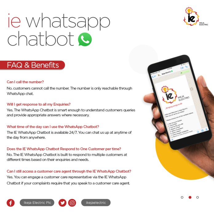Ikeja Electric Launches WhatsApp Chatbot to Optimise Service delivery, Complaints Resolution
