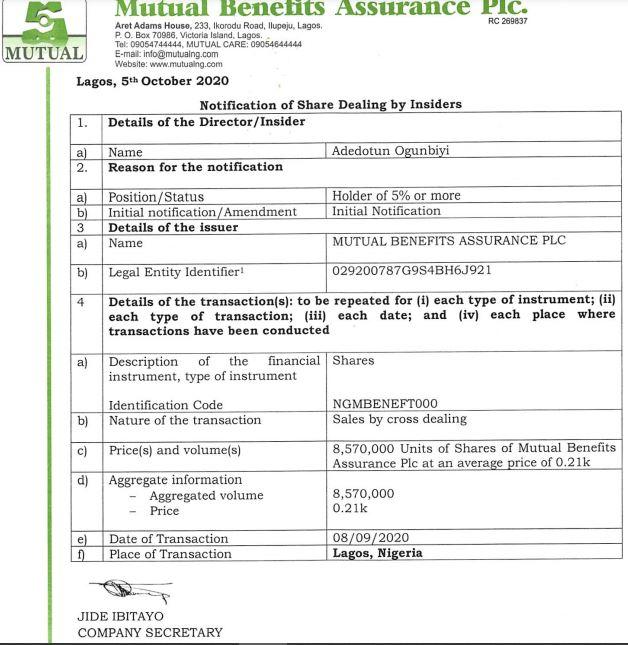 Again, Adedotun Ogunbiyi reduces stake in Mutual Benefits Assurance