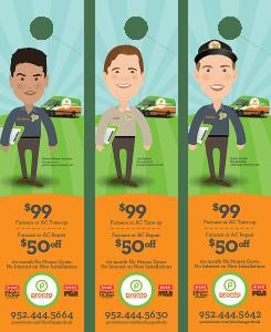 pronto brand door hangers featuring employee caricatures