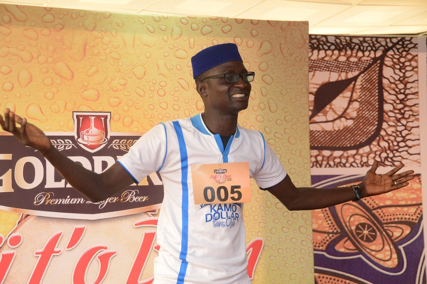 a contestant on stage