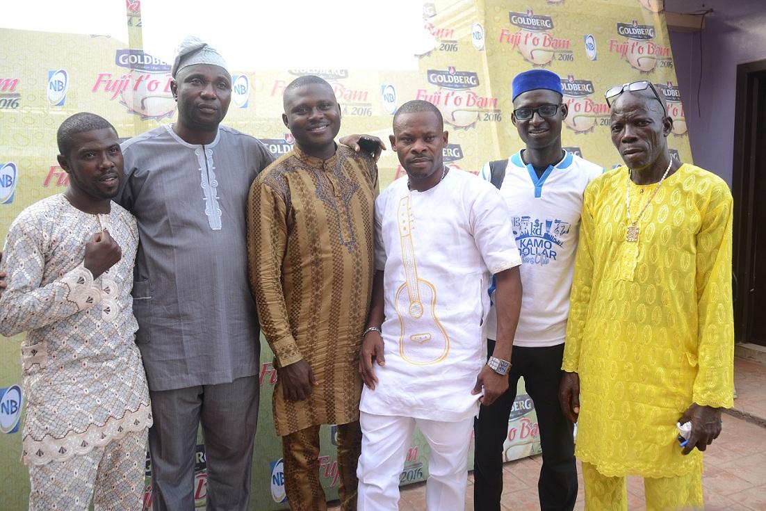 (L-R) Alhaji Wasiu Kosegbe (a.k.a Wase G), a contestant; Alhaji Sikiru Agboola (a.k.a SK Sensation), Chairman, Panel of Judges; Adekunle Abolade (a.k.a Dodo Ede), Panel member; Alimi Fatai (a.k.a Jambele), a contestant; Salam Wasiu (a.k.a Sir Yerima), an Agricultural Engineer and a contestant; and Alhaji Isiaka Ayinde (a.ka.a Fine Kabaka),