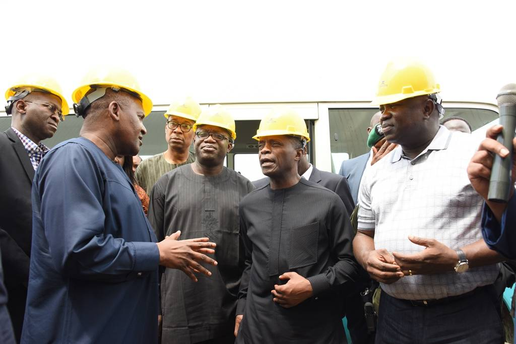R-L: Lagos State Governor, Akinwunmi Ambode; Vice President, Prof. Yemi Osinbajo; Minister of Solid Minerals, Dr. Kayode Fayemi; Minister of Power, Works & Housing, Mr. Babatunde Fashola, listening with rapt attention to President, Dangote Group; Alhaji Aliko Dangote during the Vice President's inspection visit to the Dangote Refinery at the Lekki Free Trade Zone, Lagos recently