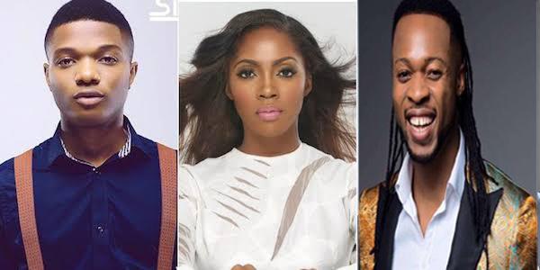 L-R: Wizkid, Tiwa Savage & Flavour