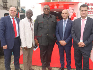 L-R: Ayman Aly, Canon Marketing Manager, Professional Solutions; Peter Omotosho, CEO, Archbond Builders Ltd; Tunde Braimoh, Chairman, Information, Security and Strategy; Fady Abinader, Sales Manager at Canon Central and North Africa and Yasser Al-Farra, owner of Tenaui Africa Limited at the recent opening of one of Canon's largest B2B showrooms in Africa in Lagos.