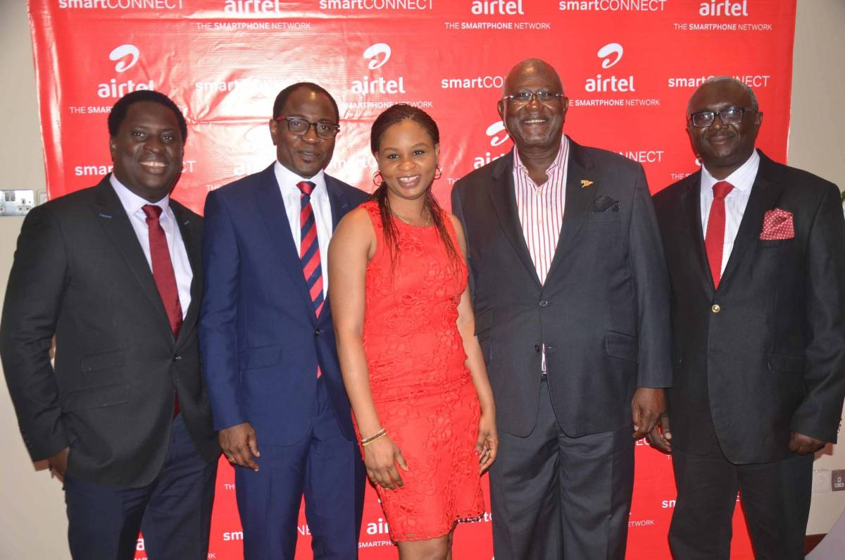 PR & Communications Manager, Airtel Nigeria, Erhumu Bayagbon; Head, Public Relations, Airtel Nigeria, Adefemi Adeniran; Senior Manager, Brand Management, Airtel Nigeria, Oluwaseun Adaramola; Veteran Actor Kunle Bamtefa and Head, Mass Market Segment, Airtel Nigeria, Oladipo Jolaosho at the launch of Airtel Smart Connect 2.0