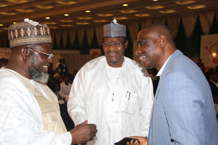 L-R:Minister of Communications, Barrister Adebayo Shittu; Executive Vice Chairman of the Nigerian Communications Commission, Prof. Umar Garba Danbatta and Chief Executive Officer and Managing Director, Airtel Nigeria, Segun Ogunsanya at the presentation ceremony of the Aso Villa Demo Day, at the Aso Villa, recently.