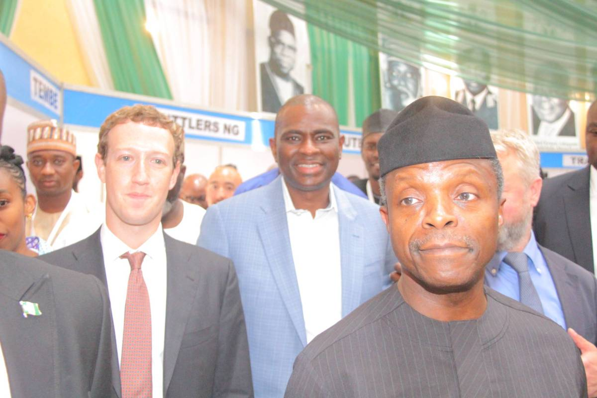 L-R: Facebook Founder, Mark Zuckerberg; Chief Executive Officer and Managing Director of Airtel Nigeria, Segun Ogunsanya and Vice President, Yemi Osinbajo arriving the venue at the presentation ceremony of the Aso Villa Demo Day, at the Aso Villa,