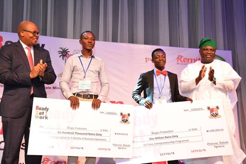 R-L: Lagos State Governor, Mr. Akinwunmi Ambode, with Winners of Entrepreneur category, Biogas Production, Sarumi Oluwafemi; Dada Samuel and Country Senior Partner, PricewaterCooper (PWC) Nigeria, Mr. Uyi Akpata during the Ready, Set, Work Graduation Ceremony, Class of 2016, an initiative of the State Ministry of Education at the Landmark Event Centre, Victoria Island, Lagos, on Thursday, September 15, 2016.