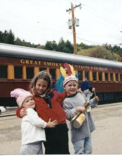 Kinder at old RR, Georgia vacation, 2001