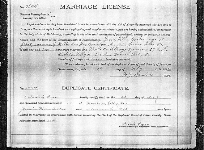 bartoo vanpelt marriage license