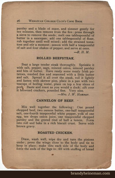 WV WC 26 Rolled Beefsteak, Cannelon of Beef, Roasted Chicken