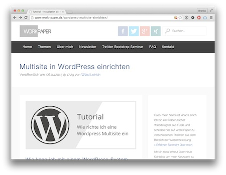 Screenshot WordPress Multisite