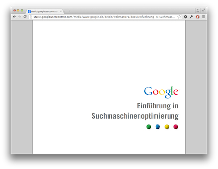 Screenshot Google Optimierung