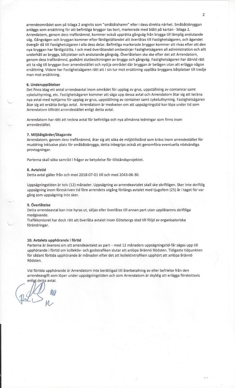 Rödsten arrendeavtal 2018 undertecknat av Tim Borg, Lennart Granström, Martin Öbo, Ma-Lov Wihlborg