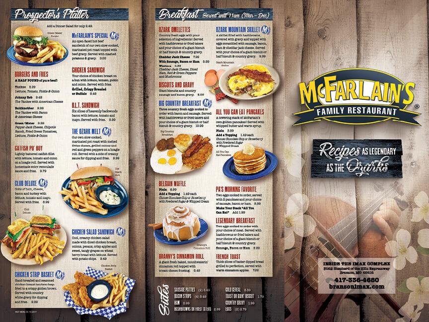 McFarlains menu