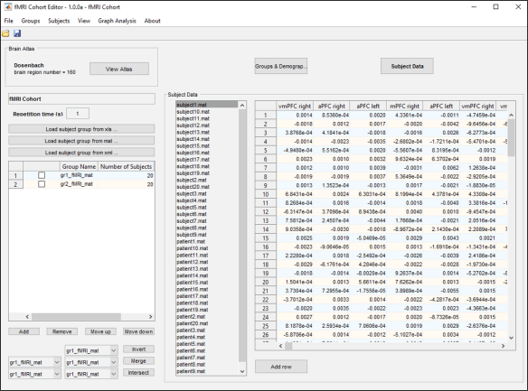 Figure 5: The subject data tab of the main panel shows a list of the subjects and a table containing the data of the subjects corresponding to each brain region as a function of time.