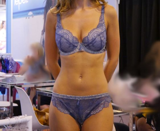 Charnos Bailey Padded Plunge and Brief Blue