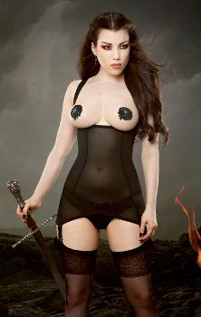 Kiss Me Deadly Vargas Cupless Suspender Dress Black at Esty Lingerie