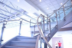 Glass w/ Stainless Handrail Staircase