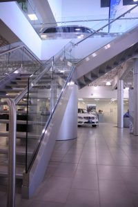 Glass Guardrails & Aluminum Base Shoe with Stainless Steel Handrails