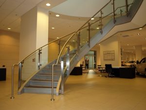 Glass & Stainless Steel Spiral Stair