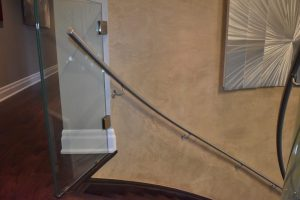 Curved Stainless Steel Railing w/ Glass Guardrail