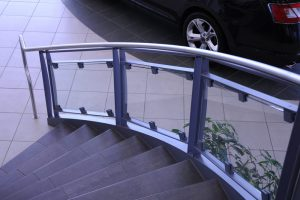 Glass Clips on Glass and Painted Steel Staircase