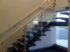 Glass Clips on Glass & Stainless Steel Staircase