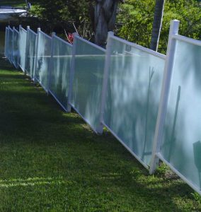 Frosted Glass & Powder Coat Painted Steel Fence