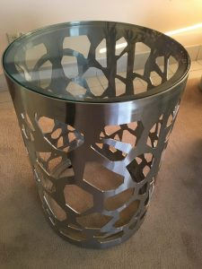 Laser Cut Stainless Steel & Glass Top Side Table