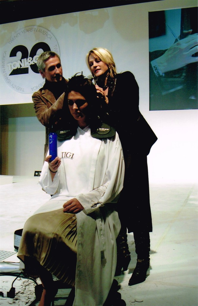 Ashley and James Morrison giving a demonstration at Toni & Guy's 20th Anniversary Collection Release