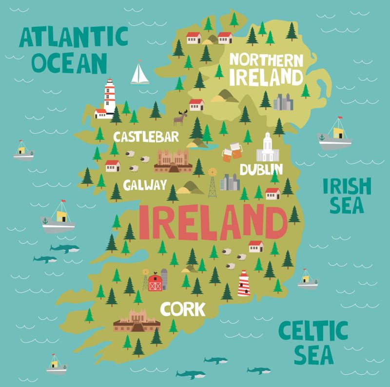 Mapa ilustrado da Irlanda.