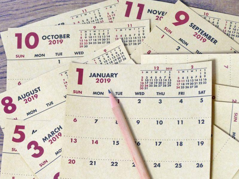 páginas de agendas com datas em inglês