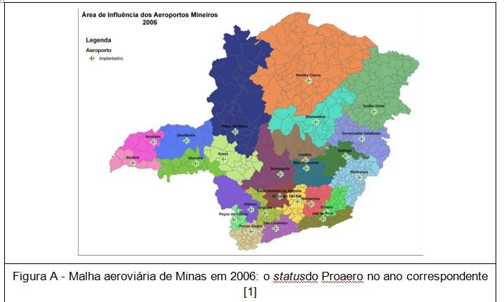mapa area de influencia aeroportos MG