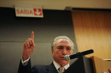 O vice-presidente da República e articulador político do governo, Michel Temer, faz palestra no campus da Asa Norte do Centro Universitário de Brasília UniCeub (José Cruz/Agência Brasil)