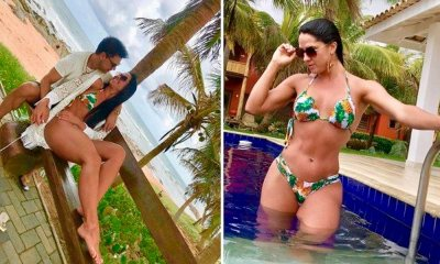 Zezé e Graciele aproveitam o último dia de férias em paraíso na Bahia